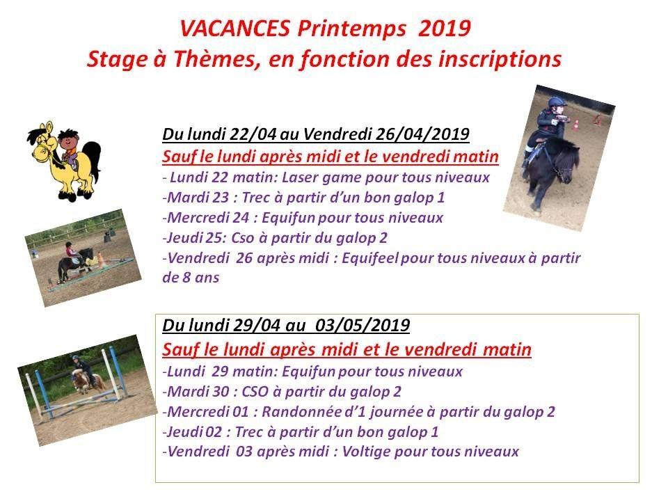 22 - 04 - 2019 Stage pendant les vacances de printemps