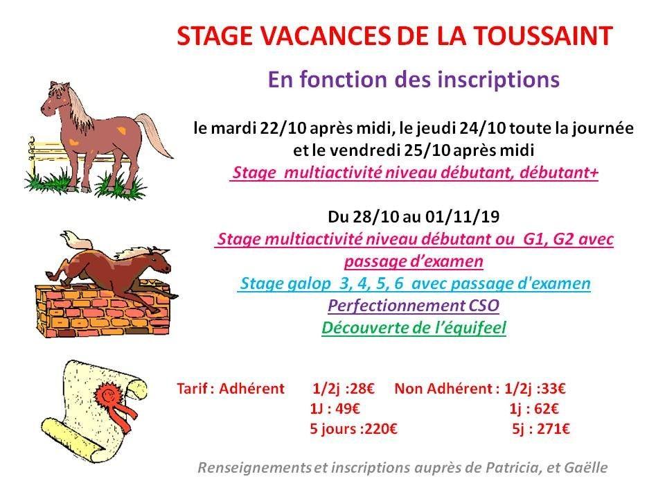 22 - 10 - 2019 stage vacances de la Toussaint