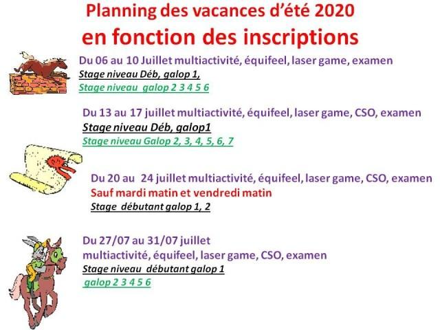 06 - 07 - 2020 STAGE VACANCES D'ETE