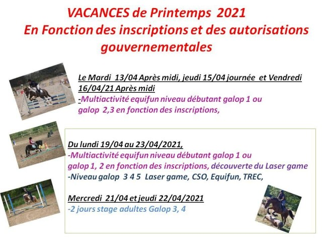 13 - 04 - 2021 Stage vacances de printemps
