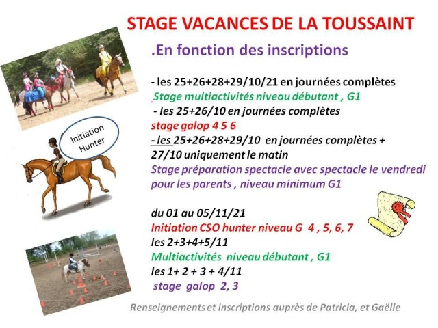 25 - 10 - 2021 stage vacances de la Toussaint